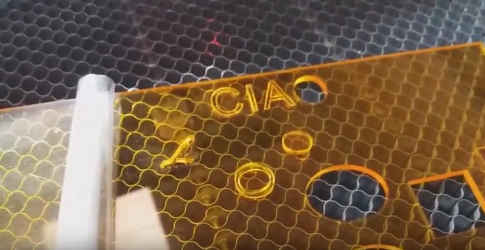 CO2 Laser cut on Plexiglass video demonstration